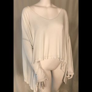 Free People Cream Waterfall Long Sleeve Top